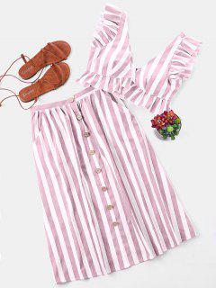 Striped Crop Top And Skirt Set - Light Pink M