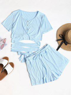 Buttoned Wrap Top And Shorts Set - Baby Blue L