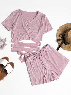 Buttoned Wrap Top And Shorts Set - Wisteria Purple M