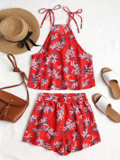 Floral Print Cami Shorts Set - Love Red M
