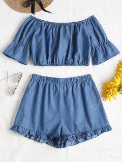 Off Shoulder Ruffles Shorts Set - Windows Blue S