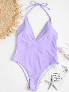 Backless One Piece High Leg Swimsuit - Mauve S