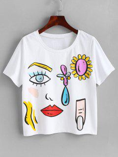 Round Collar Printed Tee - White S