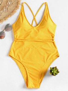 Traje De Baño De Corte Alto Con Espalda Cruzada Y Lazo Automático - Amarillo Brillante M