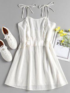 Vestido Camisero Atado Con Volantes - Blanco L