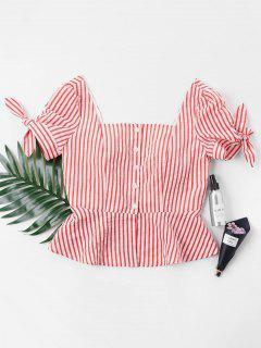 Gestreifte Quadratischer Neck Bluse - Kastanie Rot Xl