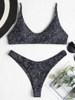Leopard Hohes Bein Bikini Set - Schwarz S