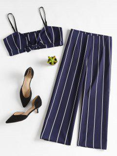 Stripe Crop Top And Culottes Matching Set - Deep Blue L