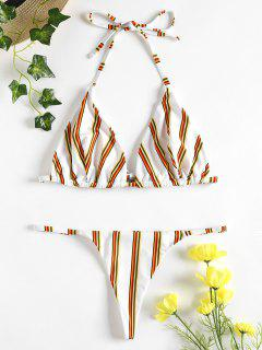Striped Thong Bikini - White S