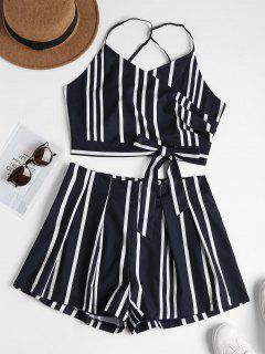Striped Bowknot Cami Top And Shorts Set - Dark Slate Blue L