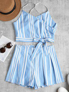 Striped Bowknot Cami Top And Shorts Set - Light Sky Blue M