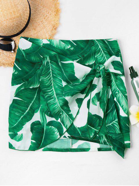 chic Front Tie Tropical Leaf Skirt - GREEN M Mobile