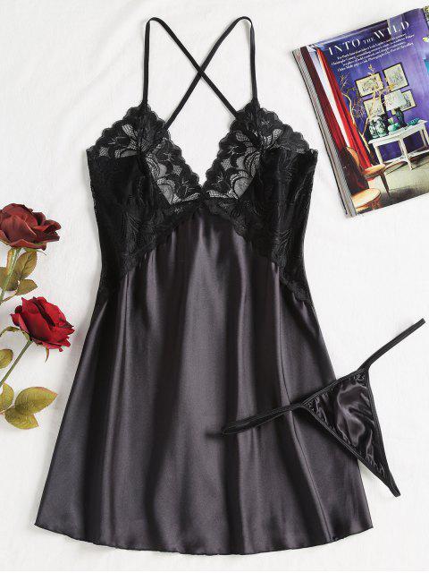 online Cami Lace Panel Satin Lingerie Dress - BLACK XL Mobile