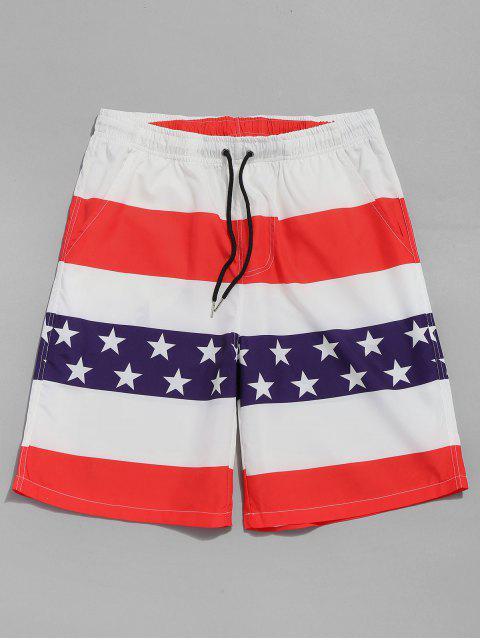 Pantalones cortos con cordón de la bandera americana - Rojo 2XL Mobile