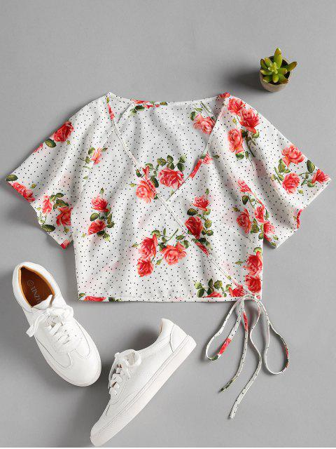 lady Dotted Floral Print Wrap Blouse - WHITE L Mobile