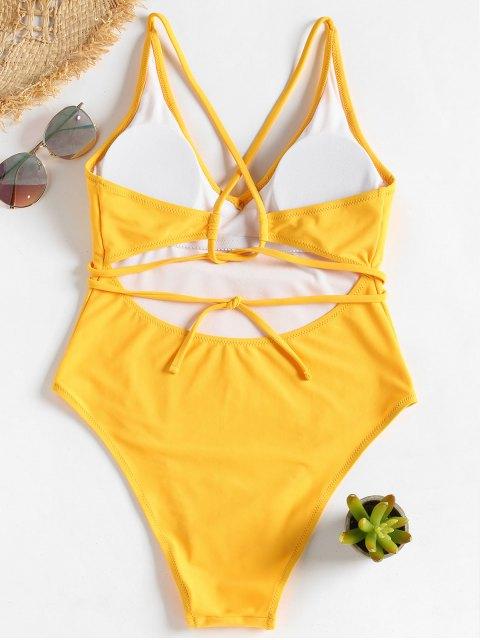 women Self Tie Cross Back High Cut Swimsuit - BRIGHT YELLOW L Mobile