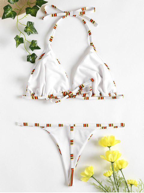 hot Striped Thong Bikini - WHITE L Mobile