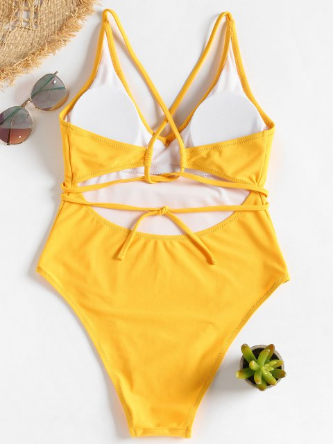 buy Self Tie Cross Back High Cut Swimsuit - BRIGHT YELLOW S Mobile