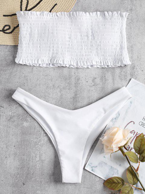 lady Smocked Bandeau Bikini Set - WHITE S Mobile