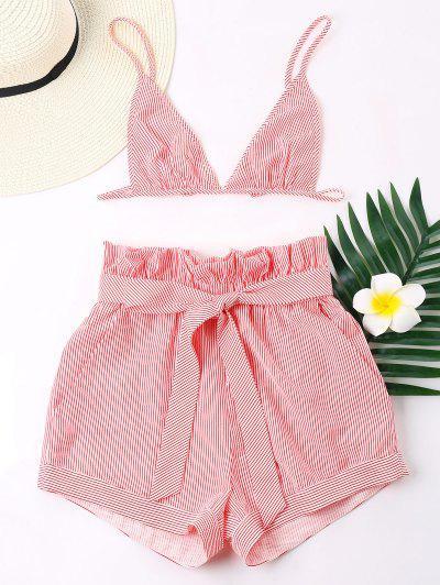 Stripes Bra E Perna Larga Shorts Set - Vermelho Xl