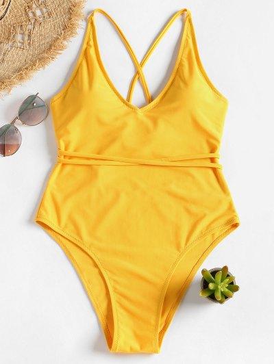 HOT  2019 Self Tie Cross Back High Cut Swimsuit In BRIGHT YELLOW M ... 078a80dda48b