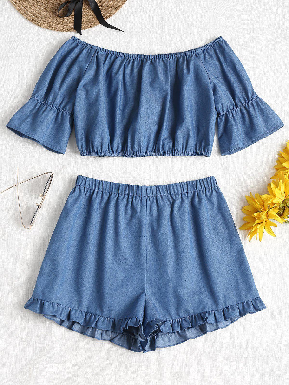 Off Shoulder Ruffles Shorts Set