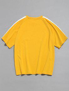 o Dise Camiseta 2xl Mostaza 225;n De Ragl Contraste Con Manga De qBw6YBX