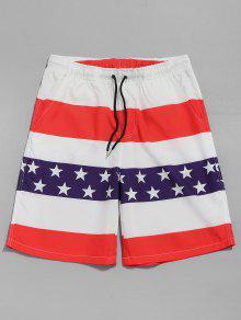 الرباط السراويل العلم الأمريكي - أحمر L