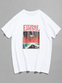 De De Manga Calaveras Con Blanco Estampado Camiseta 2xl Corta 4nqgAg