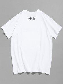 Estampado Corta Camiseta De 2xl Manga Blanco Con De Calaveras qqYw56r