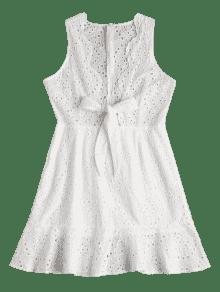 Ahuecado Vestido Anudado Vestido Anudado S Blanco Ahuecado rxfIf0wq6