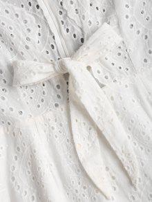 Anudado Anudado Vestido Vestido Anudado Blanco S Ahuecado Blanco Ahuecado Vestido S naBPxq