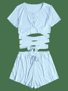 Abotonado Claro De S Azul Shorts Y Conjunto Top OrqaHO