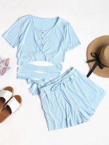 Abotonado Conjunto De Top Y Shorts - Azul Claro S