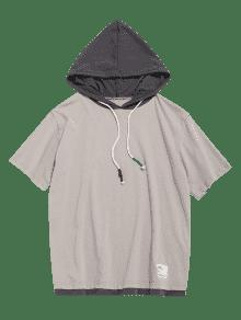 Cord Xl Capucha Corta Camiseta Con Claro Caqui 243;n Con Manga De wIvx1qAP