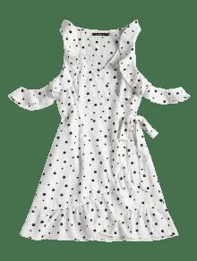 Lunares Y Pliegues Con Vestido M Blanco Lunares tHqzEvFw