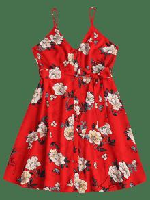 Cintur S Estampado Slip Floral Y Lava Rojo Con 243;n Vestido XEwqzX