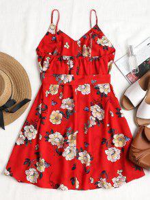 Lava Cintur Y Rojo S Floral 243;n Estampado Vestido Slip Con Ifw8w