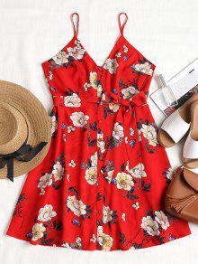 فستان مزين بطبعات زهور - الحمم الحمراء L
