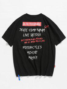 Negro Casual Impresa L Camiseta Carta xFOZX7Y