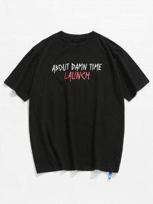 Camiseta Negro Casual L Carta Impresa 8TFSUTqx