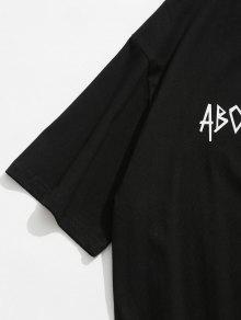 Carta L Impresa Casual Negro Camiseta qAqRnwgr
