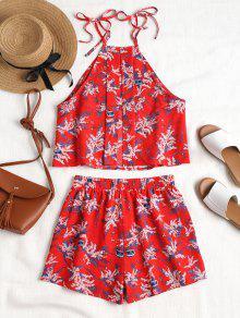 De Amo Estampado S Cortos Pantalones Cami Floral Rojo AHRW5q