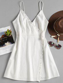 الكشكشة تداخل كامي اللباس - أبيض S