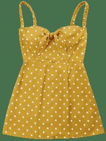 Xl De Retro Cami Abeja Amarilla Dot Vestido RAgwqx1Hw