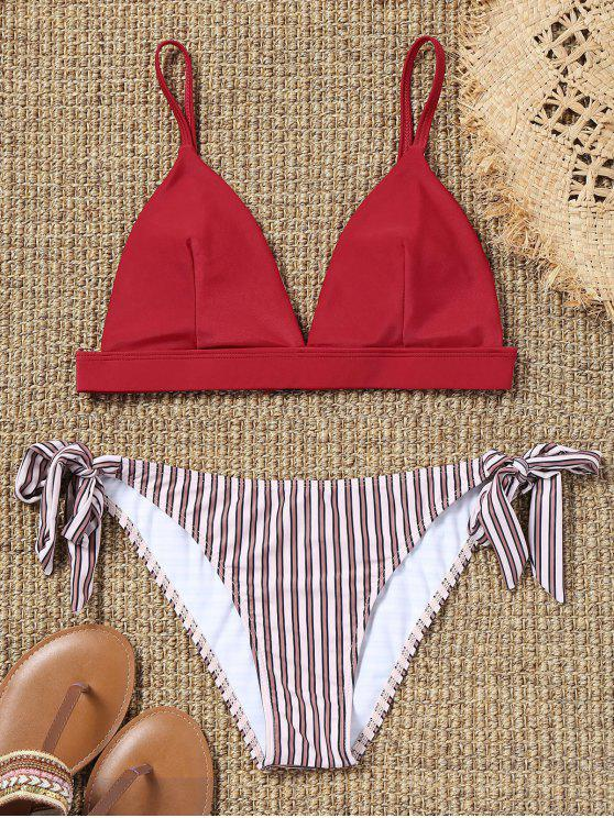 affordable Cami Bra and Striped Tie Side Swim Briefs - RED M