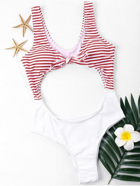 cut out knotted cheeky one piece swimwear