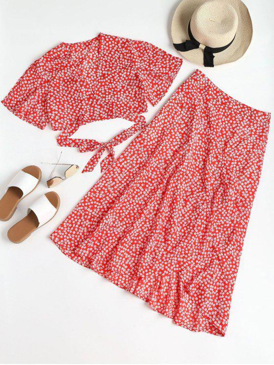 best Print Wrap Top and Maxi Skirt Set - RED S