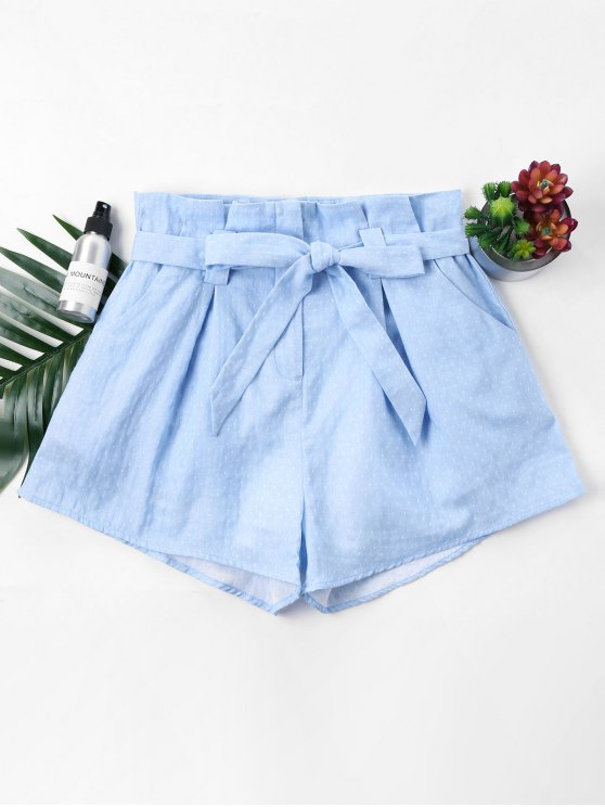 ladies Polka Dot Belted Shorts - LIGHT BLUE S