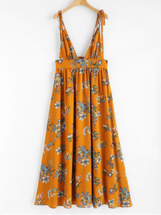 Robe à Col Plongeant à Imprimé - Orange M